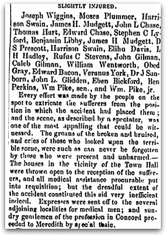 "An article about the ""Great Catastrophe"" in Meredith, New Hampshire, Weekly Union newspaper article 21 March 1855"