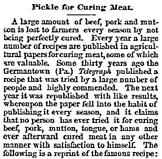 An article about pickled meat, Wisconsin State Journal newspaper article 27 March 1883