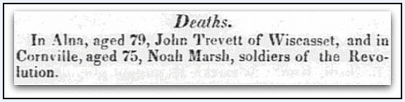 An obituary for Noah Marsh, American Advocate newspaper article 13 November 1830
