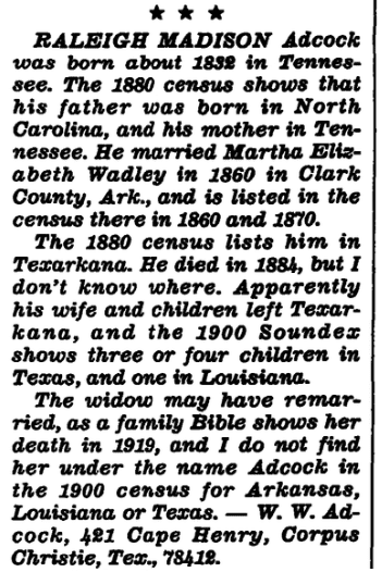 An article about the Adcock family Bible, Arkansas Gazette newspaper article 1 June 1982