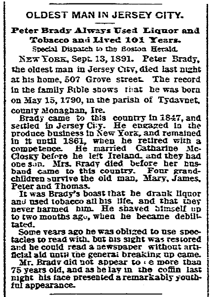 An obituary for Peter Brady, Boston Herald newspaper article 14 September 1891