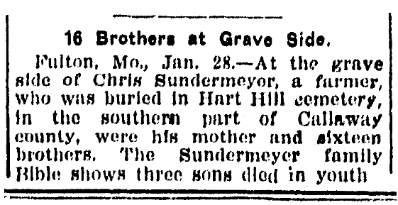 An article about the funeral for Chris Sundermeyer, Daily Illinois State Journal newspaper article 30 January 1910