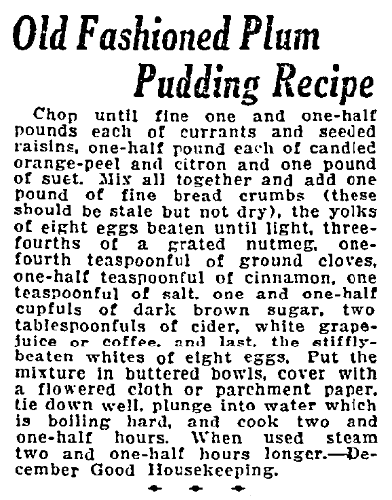 A receipe for plum pudding, Duluth News-Tribune newspaper article 28 November 1920