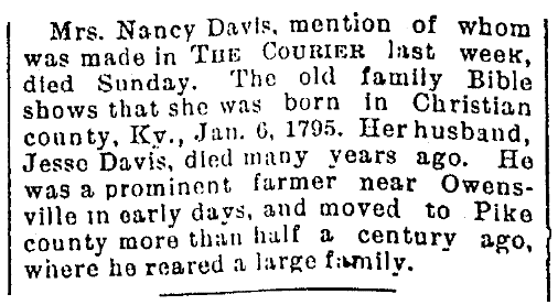 An obituary for Nancy Davis, Evansville Courier and Press newspaper article 18 January 1896