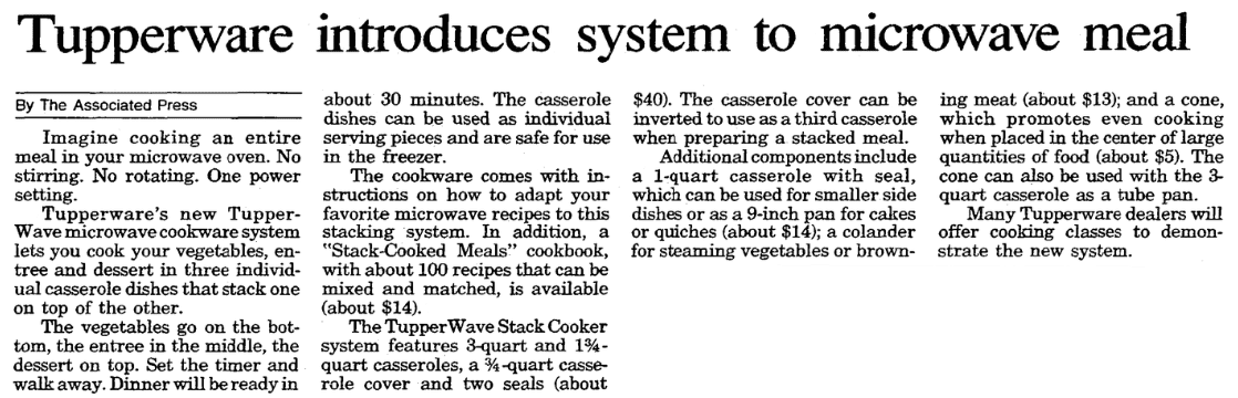 An article about Tupperware for the microwave oven, Evansville Courier and Press newspaper article 5 September 1990
