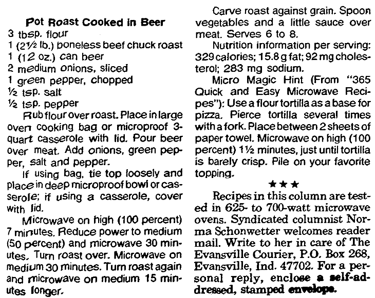 A recipe for cooking a pot roast in a microwave oven, Evansville Courier and Press newspaper article 30 December 1990