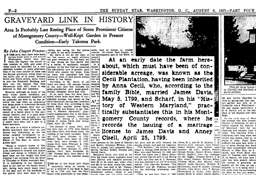 An article about a graveyard, Evening Star newspaper article 8 August 1937