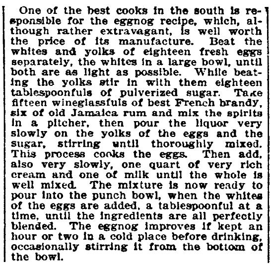 A recipe for eggnog, Evening Star newspaper article 31 December 1905