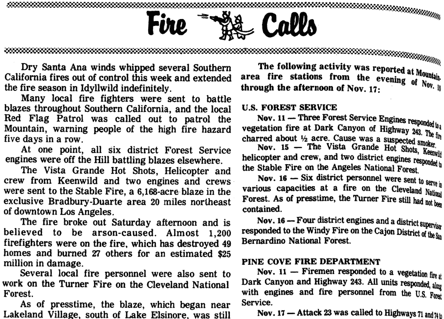 An article about California wildfires, Idyllwild Town Crier newspaper article 20 November 1980