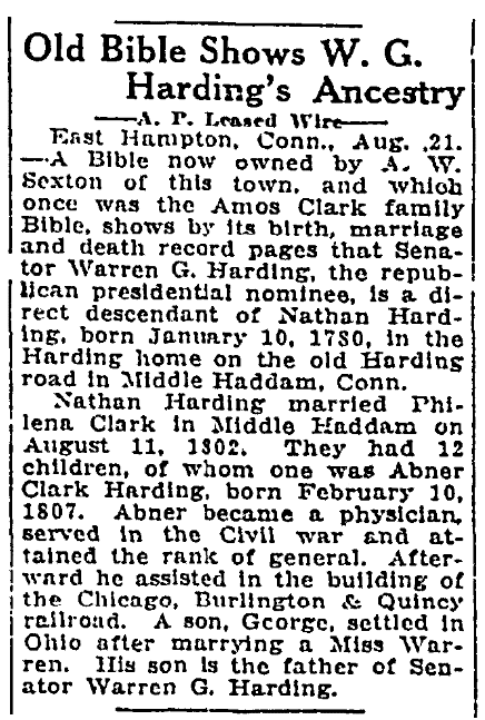 An article about W. G. Harding's ancestry, Jackson News newspaper article 22 August 1920