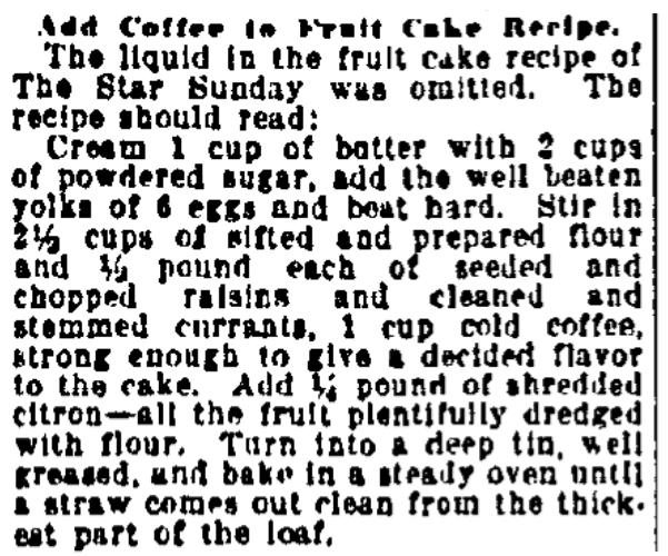 A recipe for fruitcake, Kansas City Star newspaper article 16 November 1920