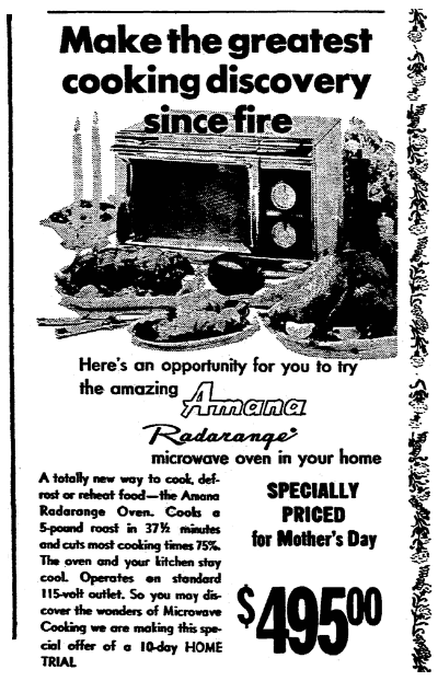 An ad for microwave ovens, Morning Star newspaper advertisement 30 April 1970