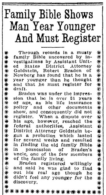 An article about Robert Braden, Oregon Journal newspaper article 30 August 1917