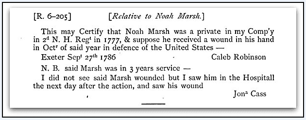Photo: record showing Noah Marsh received a wound during the Revolutionary War