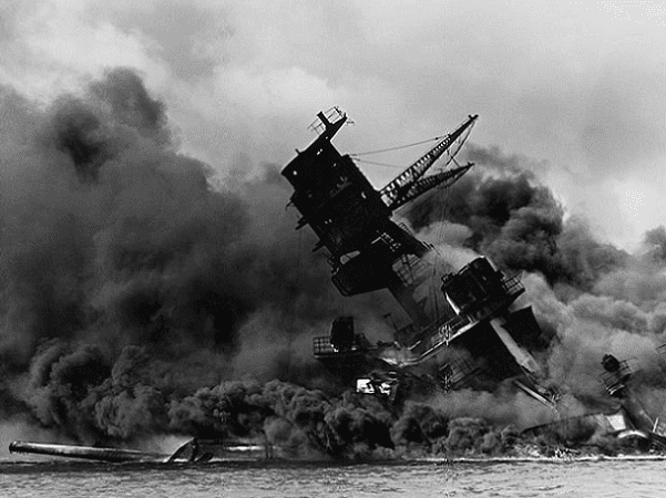 Photo: the USS Arizona burning after the Japanese attack on Pearl Harbor, 7 December 1941. Credit: National Archives and Records Administration; Wikimedia Commons.