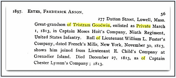 A record about Frederick Estes. Source: Google Books, Constitution and Register of Members of the General Society of the War of 1812 to October 1, 1899. Philadelphia, Pennsylvania: The Society, 1899. Page 56.
