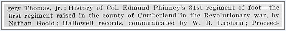 A reference to Edmund Phinney's Revolutionary War regiment, Annual report of the American Historical Association for the year 1905, 30 June 1906