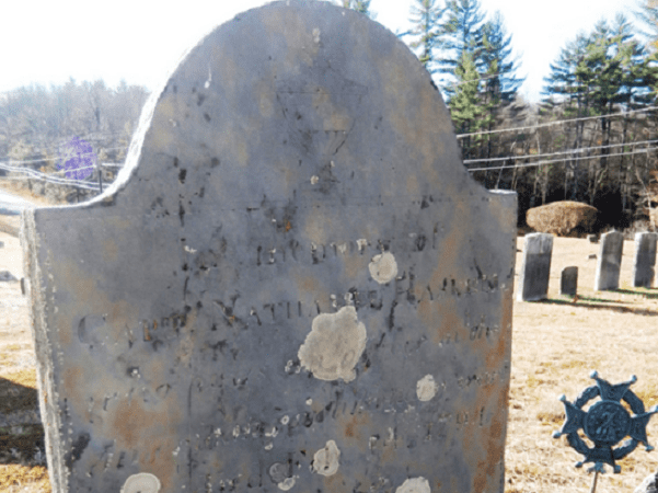 Photo: Nathaniel Haskell's gravestone, Lower Corner Cemetery, New Gloucester, Cumberland County, Maine. Source: Find a Grave.