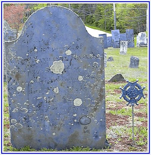 Photo: Nathaniel Haskell's gravestone, Lower Corner Cemetery, New Gloucester, Cumberland County, Maine