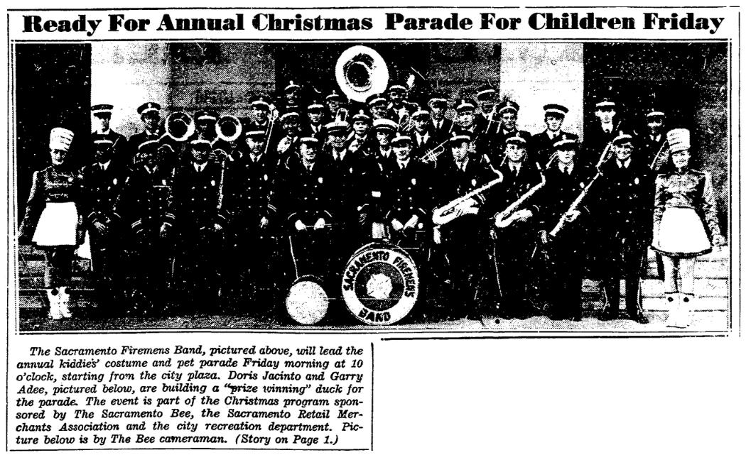 An article about a Christmas parade, Sacramento Bee newspaper article 20 November 1940