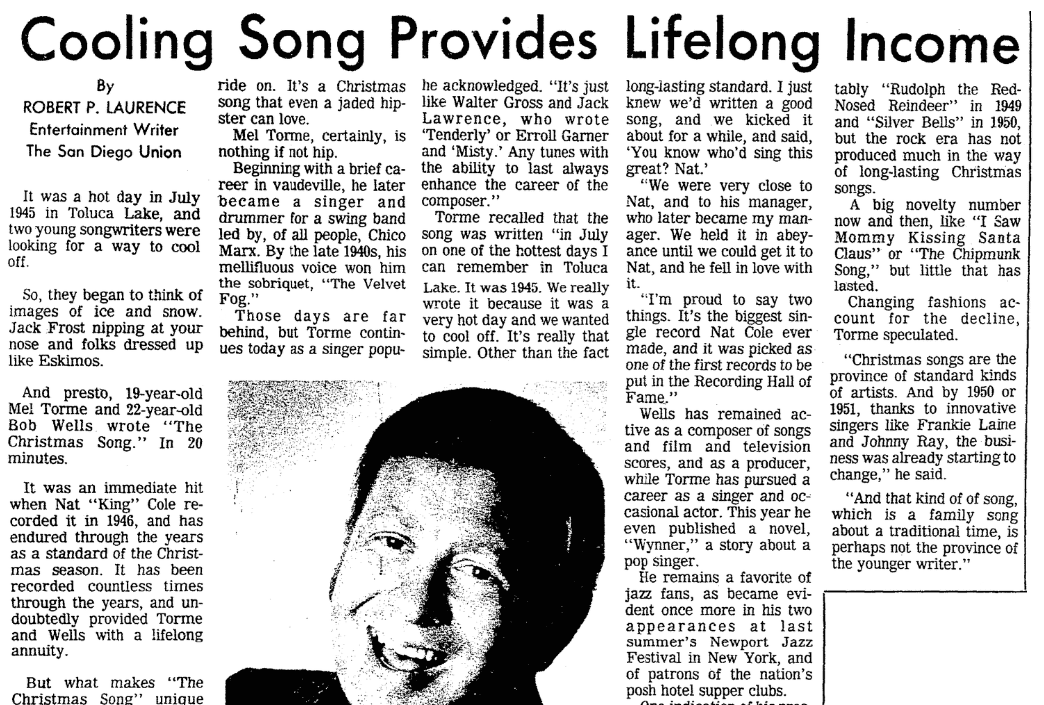 """An article about """"The Christmas Song,"""" San Diego Union newspaper article 24 December 1978"""