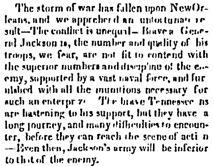 An article about the Battle of New Orleans, American and Commercial Daily Advertiser newspaper article 11 January 1815