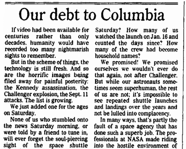An editorial about the Space Shuttle Columbia disaster, Augusta Chronicle newspaper article 2 February 2003