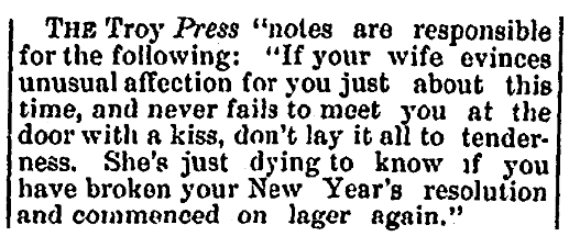 An article about a New Year's resolution, Bennington Banner newspaper article 20 January 1881