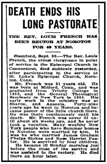 An obituary for Louis French, Bridgeport Evening Farmer newspaper article 30 September 1912