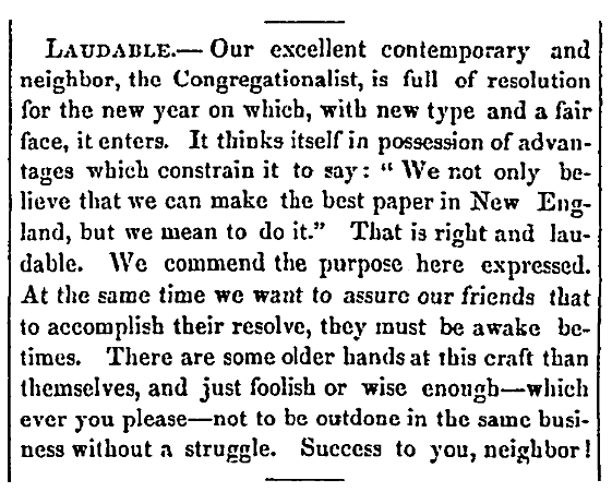 An article about the newspaper the Congregationalist, Christian Watchman newspaper article 12 January 1854