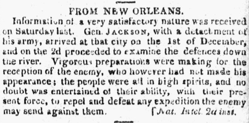 An article about the Battle of New Orleans, City Gazette newspaper article 9 January 1815