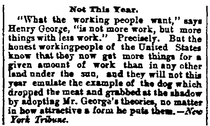 An article about a New Year's resolution, Cleveland Leader newspaper article 4 January 1887