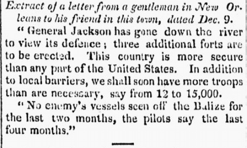 An article about the Battle of New Orleans, Connecticut Journal newspaper article 9 January 1815
