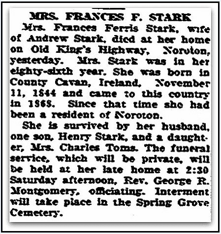 An obituary for Frances Stark, Daily Advocate newspaper article 6 March 1930