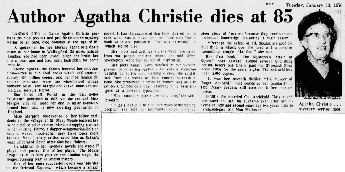 An obituary for Agatha Christie, Dallas Morning News newspaper article 13 January 1976