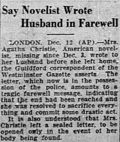 An article about Agatha Christie, Dallas Morning News newspaper article 13 December 1926