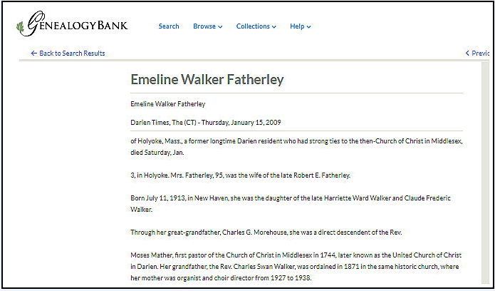 An obituary for Emeline Featherley, Darien Times newspaper article 15 January 2009