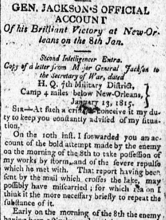 An article about the Battle of New Orleans, Essex Register newspaper article 11 February 1815