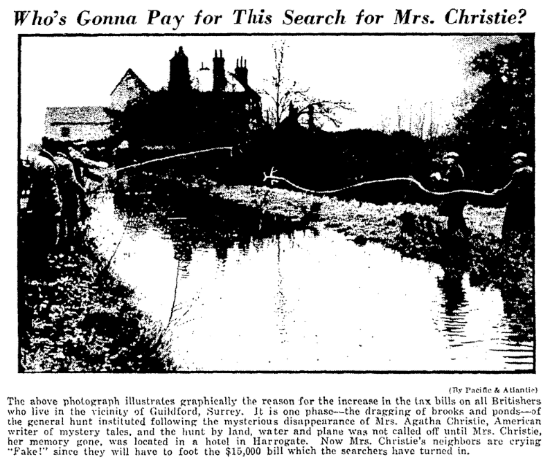 An article about Agatha Christie, Evening Post newspaper article 22 December 1926