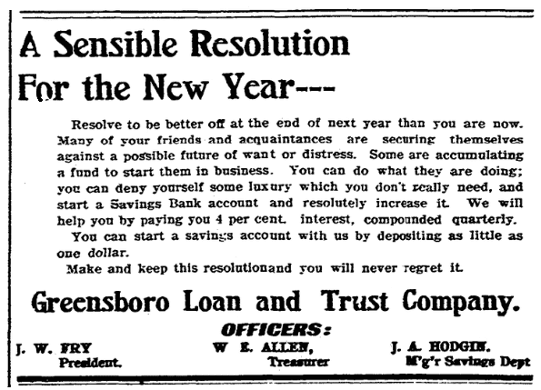 A loan company ad, Greensboro Record newspaper advertisement 29 December 1906