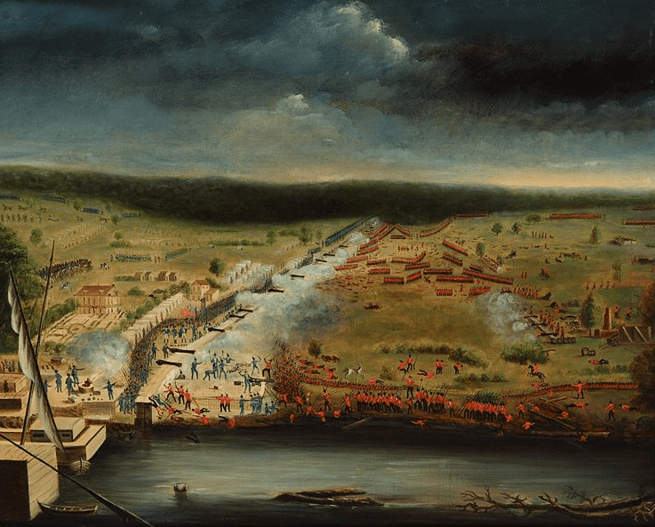 Illustration: painting of the Battle of New Orleans by Jean Hyacinthe de Laclotte