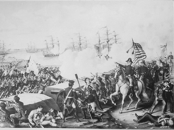 "Illustration: ""Battle of New Orleans, January 1815."" Copy of lithograph by Kurz and Allison, published 1890. Credit: National Archives and Records Administration; Wikimedia Commons."