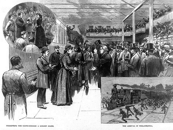 """Illustration: """"Around the world in seventy-two days and six hours -- reception of Nellie Bly at Jersey City on the completion of her journey."""" Includes two vignettes (inset) titled: """"Presenting the Globe-Girdler a Golden Globe"""" and """"The Arrival in Philadelphia."""" Credit: Frank Leslie's Illustrated Newspaper, 8 February 1890; Library of Congress, Prints and Photographs Division."""