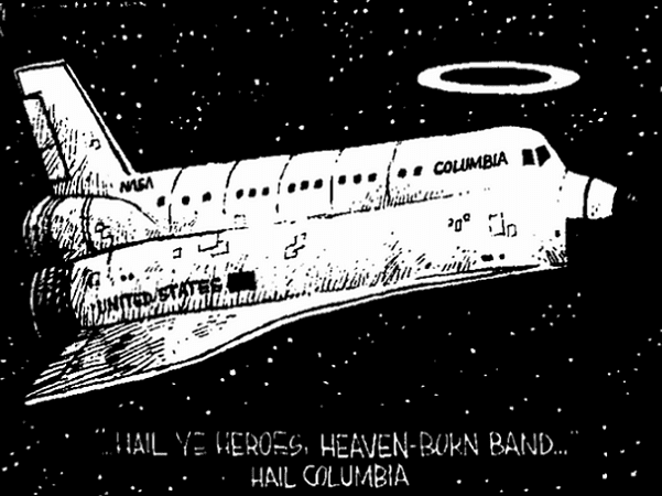 Illustration: memorial to the Space Shuttle Columbia's crew, from the Augusta Chronicle (Augusta, Georgia), 2 February 2003, page 4