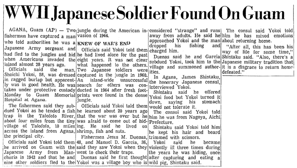 An article about Japanese Imperial Army Sergeant Shouichi Yokoi, Mobile Register newspaper article 25 January 1972
