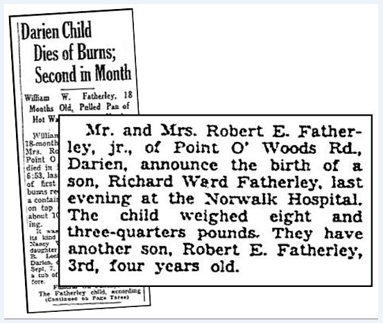 Newspaper articles about the children of Emeline and Robert Featherley