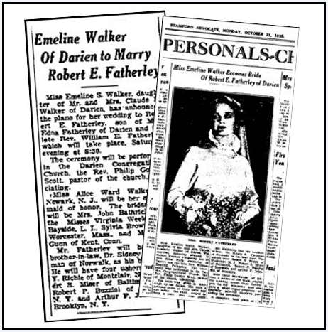 Newspaper articles about the wedding of Emeline Walker and Robert Featherley