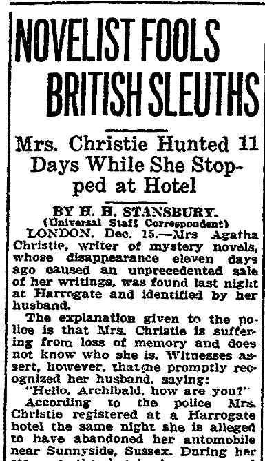 An article about Agatha Christie, New Orleans States newspaper article 15 December 1926