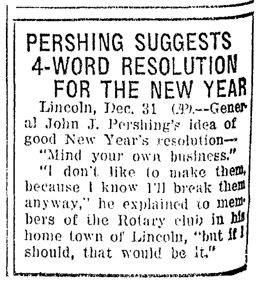 An article about a New Year's resolution, Omaha World-Herald newspaper article 1 January 1930