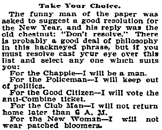 An article about New Year's resolutions, Philadelphia Inquirer newspaper article 30 December 1895